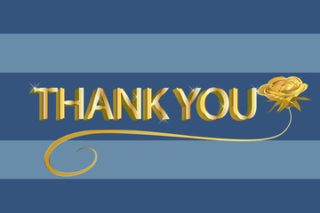 Thank you card blue and gold design