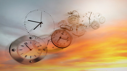 Clocks in the sky. Time flies