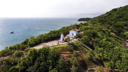 Aerial image of Ilha dos Frades in All Saints Island Bahia Brazil