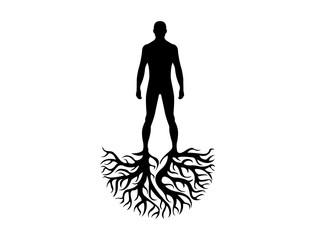 Person roots silhouette heritage illustration   Wall mural