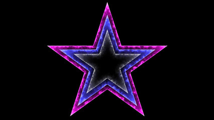 Star 031 - Glow Neon Colorful - Black Background