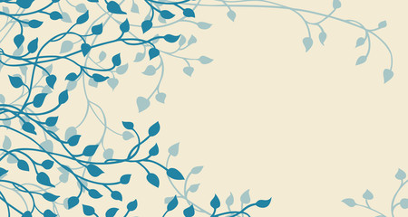 hand drawn ivy and vines in blue on a yellow background vector with leaves climbing up the side border in a floral nature pattern for wedding announcements or invitations