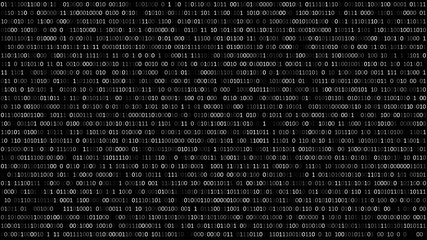 Binary code black and white background with digits on screen. Format 16:9