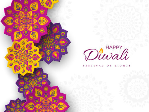 Diwali festival holiday design with paper cut style of Indian Rangoli. Purple, violet, yellow color on white background, vector illustration.