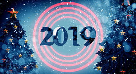 New Year 2019. New Year's poster, background with a volume inscription. 3d rendering. Dark bokeh background, magic dust, light effect, rays. Christmas tree
