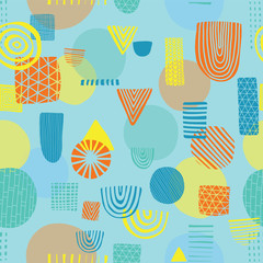 Abstract shapes seamless vector pattern. Triangles, circles, rectangles, half circles orange, yellow, and blue on a blue background. Modern pattern design. Great for the childrens market. Kids market