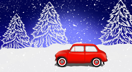 Panorama of the forest, snow, night view. A red car is driving a Christmas tree for a Christmas holiday. Winter illustration, banner. 2019