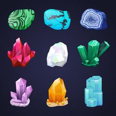 Crystal vector set. Crystalline stone or gem. Precious gemstone. Untreated diamond, malachite, turquoise, quartz