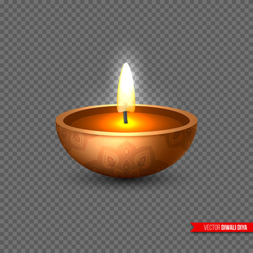 Diwali diya - oil lamp . Element for traditional Indian festival of lights. 3D realistic style on transparent background, vector illustration.