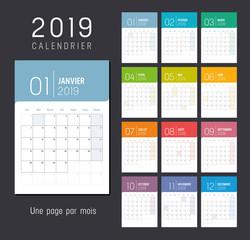 Calendrier Planning 2019 - Une page par mois