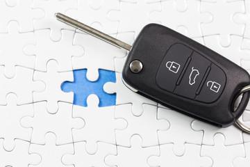 White jigsaw puzzle with car key