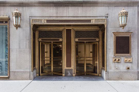 Two golden revolving doors