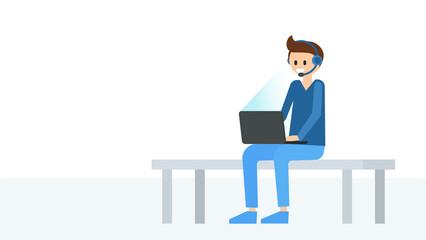 Cartoon boy with modern laptop