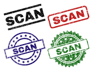 SCAN seal prints with distress style. Black, green,red,blue vector rubber prints of SCAN label with retro style. Rubber seals with round, rectangle, medal shapes.