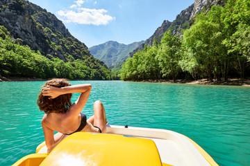 Woman on St Croix Lake, Les Gorges du Verdon, Provence, France