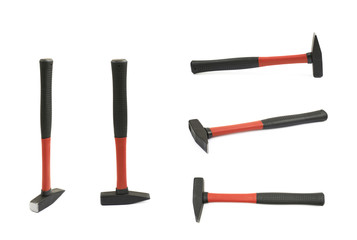 Red hammer tool isolated