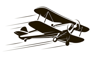 Vintage flying aircraft. Airplane symbol. Retro vector illustration