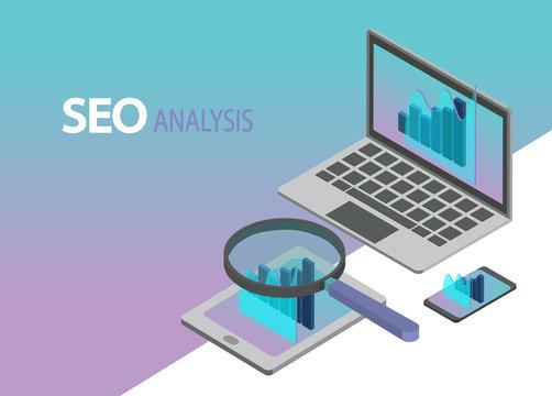 SEO search engine optimization analysis background vector. Isometric illustration. Data analytics business.