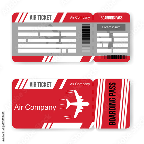 airline boarding pass ticket template isolated on white background