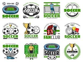 Football winner cup and soccer ball emblem design