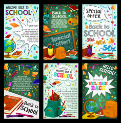 School supplies sale banner with student items
