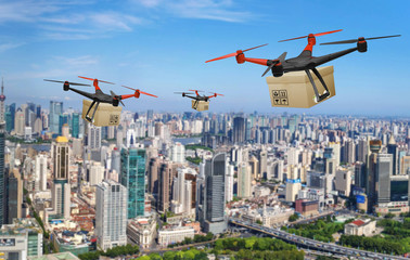Concept of Drone package delivery services, Shipment innovation Technology,  Online shopping delivery system.