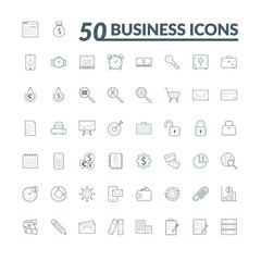 Set of 50 Business Icons suitable for Banner, Bunting, User Interface, Website, Infographics, and Applications.