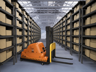 automatic forklift in warehouse