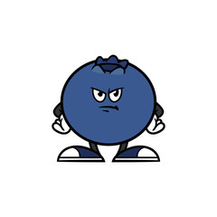 Cartoon Angry Blueberry Character