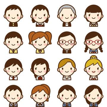 様々な学生 男女 顔 かわいい アイコン セット