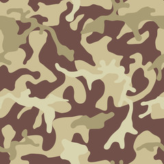 Camouflage pattern background, seamless vector illustration. Classic military clothing style. Masking camo repeat print. Beige, brown, ocher colors desert texture.