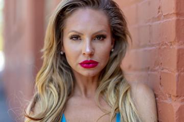 Brazilian Blonde Bikini Model Posing Outdoors