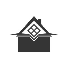 Silhouette house icon. Home logo template.