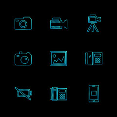 multimedia , user interface , camera , technology , eps icons set vector