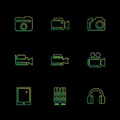 Camera ,  recorder , capture , click , photography , photograph , eps icons set vector