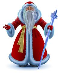 Russian Santa Claus vector cartoon isolated on white
