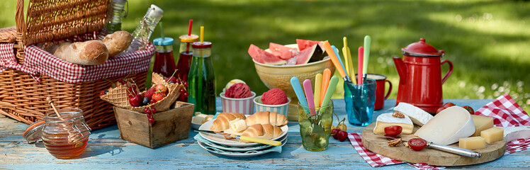Panorama banner with a healthy summer picnic Wall mural