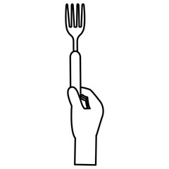 hand with fork cutlery