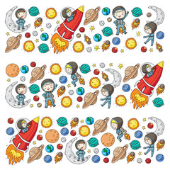 Space for children. Kids and cosmos exploration. Adventures, planets, stars. Earth and Moon. Rocket, shuttle, sun.
