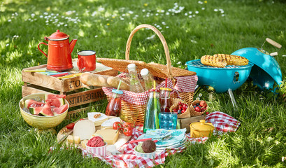 Colourful summer BBQ picnic outdoors in a meadow