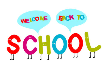 Back to school colorful font with eyes. Vector illustration.