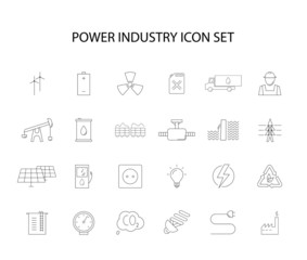 Line icons set. Power industry pack. Vector illustration
