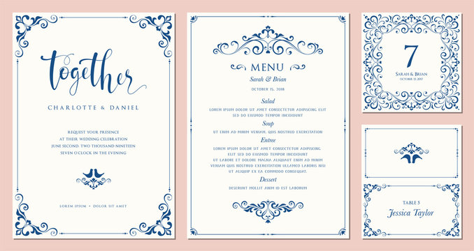 Ornate wedding invitation, table number, menu and place card. Swirl floral templates.