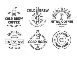 Cold brew coffee and nitro coffee badges. Vector line art logos for cafe of coffee shop.