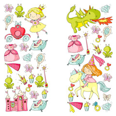 Princess vector patterns. Cute little princess with unicorn and dragon. Castle for little girl, dress, magic wand. Fairy tale icons with crown and frog. Fantasy illustration
