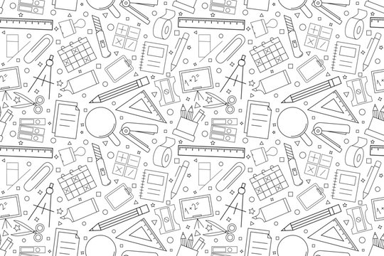 Vector Stationery pattern. Stationery seamless background