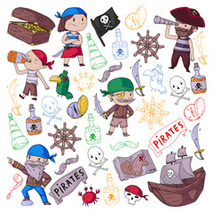 Pirate party for little children. Kindergarten background. Sea and ocean adventures. Ship and pirates, treasure island.