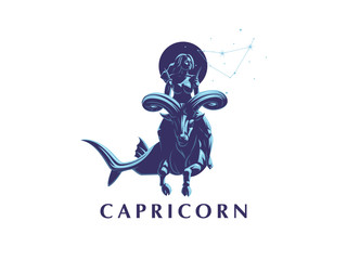 Sign of the zodiac Capricorn. A woman riding a horse in Capricorn.