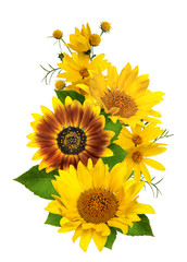 a bouquet of sunflowers isolated on white background