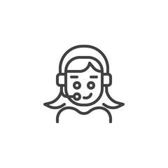 User Support outline icon. linear style sign for mobile concept and web design. Woman Person with headset simple line vector icon. Symbol, logo illustration. Pixel perfect vector graphics
